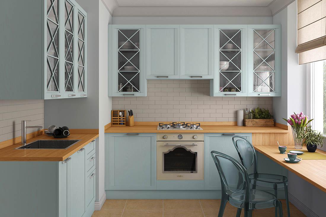Кухня классическая с пленочными фасадами МДФ | 734x1100